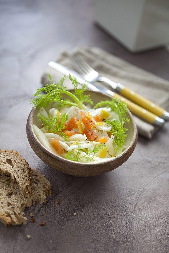 Salade de fenouil croquant au saumon