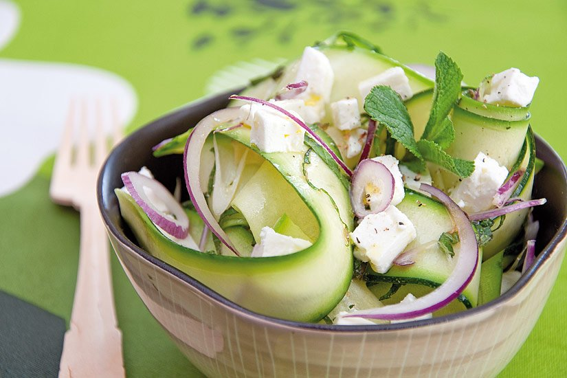 Salade de courgette menthe et féta