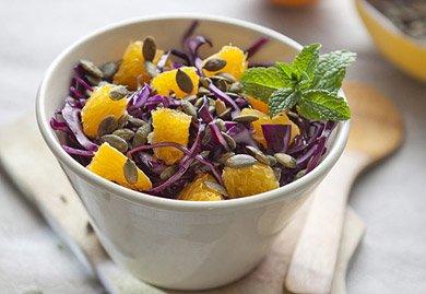 Salade de chou rouge orange et graines