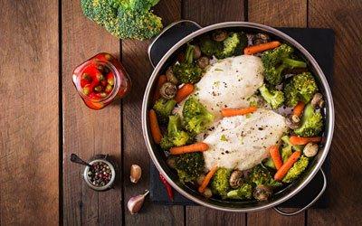 Poulet et légumes vapeur