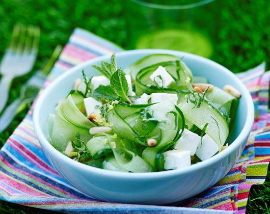 Tagliatelles concombre menthe feta